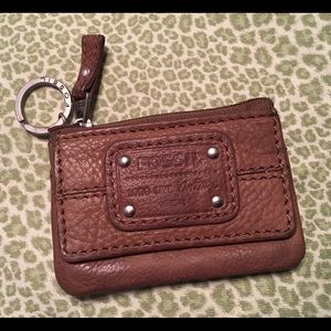 FOSSIL brown keychain ID wallet